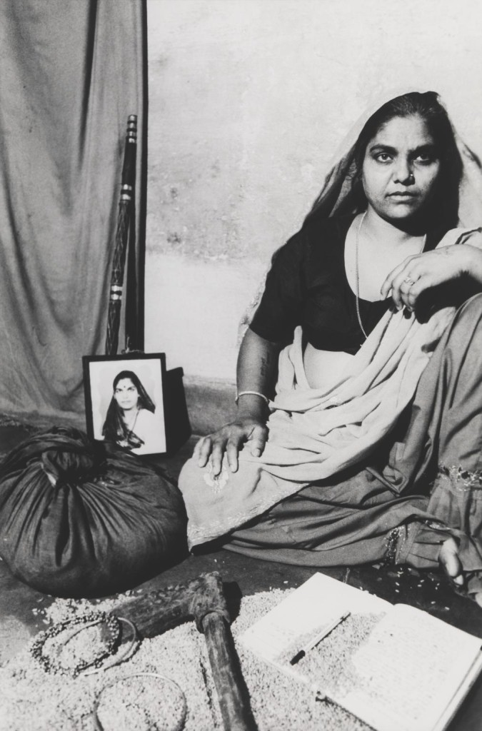 Shanti - Staged Portrait, Dakshinpuri, Delhi 1991, printed 2014 by Sheba Chhachhi born 1958